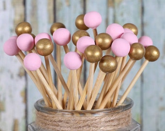 Pink & Gold Lollipop Sticks, Cake Pops Sticks, Baby Shower Cake Pops, Wedding Cake Pop Sticks, Painted Rock Candy Sticks, Wooden Sticks (12)