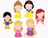 Disney Inspired Princesses v1 Digital CLIP ARTS personal and commercial use for invitations, cupcake toppers, birthday cards, party supplies