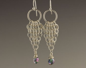 Sterling silver and Mystic Topaz chainmaille earrings