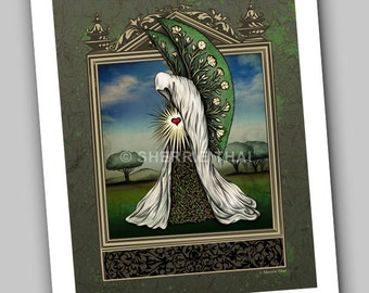 Life Beckons, Gothic Surrealism, Fantasy Nature Figure with Wings, Art Print