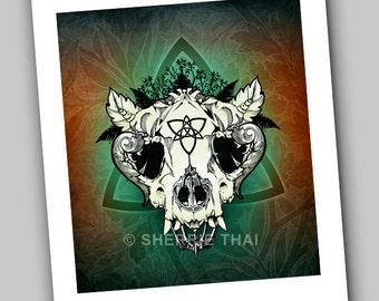 Nature Skull, Gothic Surrealism, Dark Fantasy Horror Animal Skull with Leaves, Art Print, Sale