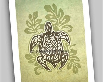 Tribal Turtle with Leaves Illustration, 5x7 Commercial Art Print