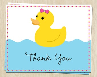 Rubber Duck Baby Shower, Birthday Thank You Cards, Pink, Bow, Set of 24 Folding Notes with Envelopes, FREE Ship, RUDGL, Rubber Ducky Girl