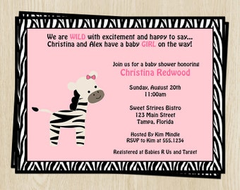 Zebra Baby Shower Invitations, Girls, Pink, Bow, Set of 10 Printed Invitations with Envelopes, FREE Shipping, SSTPK, Sweet Stripes Girl