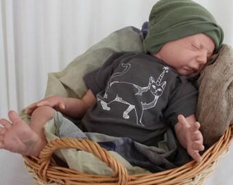 Caticorn Infant Creeper, Boby Bodysuit, One Piece Snapsuit, Horned Cat, Unicorn, Cotton Infant Bodysuit,  Grey, Cotton