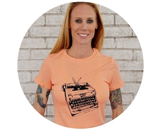Typewriter Tshirt, Ladies Vintage Style Soft Tshirt, Typing, typist, Writer, Writing, Spring Pastel Peach, Short Sleeved, Womens Clothing