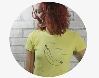 """Funny Tshirt, Banana Tshirt, Ladies Cotton Crewneck Tee Shirt """"nanner"""" text, yellow, Fruit, Farm Fresh, Produce, Vintage Soft Cotton  Tshirt"""