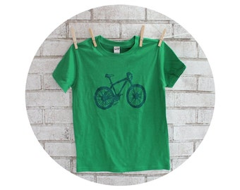 Children's Mountain Bike Tshirt, Cotton Crewneck Graphic Tee in Kelly Green, Bicycle, T Shirt