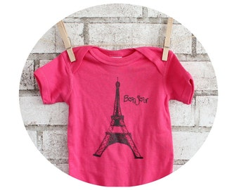Hot Pink Eiffel Tower Baby Onepiece, Cotton Infant Romper, Hand Printed, French, Bonjour, Short Sleeved, Screen-printed Shirt, World Travel
