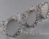 18x13mm - Filigree Ring - Platina (no tarnish silver) - Adjustable Band - 3 pcs - sku 08.26.14.4 - W3