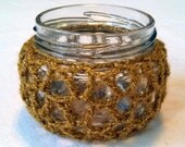 Crocheted Gold Candle Holder, Recycled Glass Jar