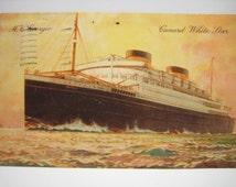 Vintage Postcard Cunard Lines 1936 Lithograph Georgic Passenger Ship Vessel Paquebot Cancelled Postage One Penny Stamp