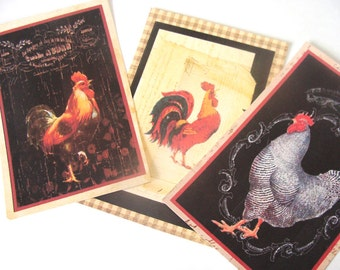 French Rooster Tags -  Set of 6 - Country Chic -  French Country  -  Farm Tags -  Poultry Tags - Barnyard tags - Thank yous