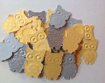 50 pc Yellow Polka Dot   Gray   Silver Glitter  Paper Owl Confetti  Baby Shower     New Baby     Scrapbooking