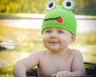 Crocheted Baby Froggy Hat  newborn to 3 year sizes