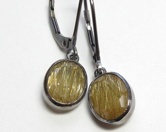 Golden Rutilated Quartz Earrings Sterling Oxidized