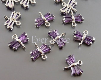 2 tiny dragonfly connectors for earrings and necklace | amethyst purple cz 5099R-AM