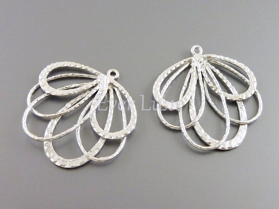 2 Feather pendants, matte silver brass, filigree jewelry pendants / necklace charms / jewelry supplies 1239-MR (matte silver, 2 pieces)
