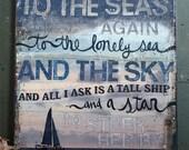 "Sea Fever  - 24"" x 30"" original mixed media painting - inspirational nautical word art"