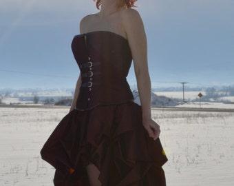 Steampunk wedding gown-alternative gown-copper wedding gown-gothic prom dress-steampunk prom dress-custom made dress