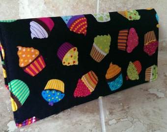 Handcrafted checkbook cover -cupcakes