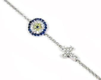Round Evil Eye Bracelet with Tiny CZ Sideways Cross - Sterling Silver As seen on Kim Kardashian