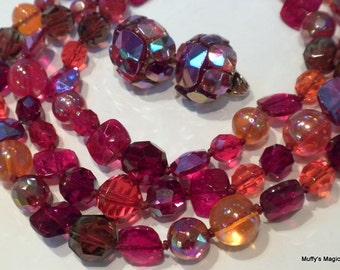Vogue Bead Necklace Earrings Orange Red Glass Aurora Borealis Stunning