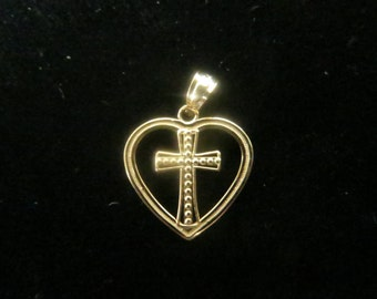 Gold plated sterling silver heart with a cross pendant