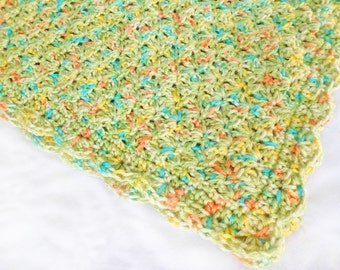 Multi color Crochet baby blanket stroller size