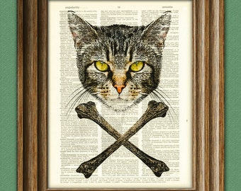 Gnarly Cat and Crossbones illustration Dictionary Page book art print