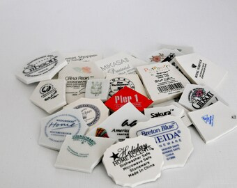 Broken China Mosaic Tiles - Plate Back Stamps Assortment - Set of 25