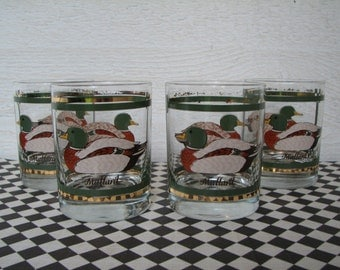 Beverage Glasses - Set of 4 - Ducks - Mallards - Gold Trim - Juice - Very Good Condition - Tumblers