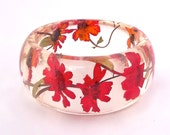 Red Resin Bangle. Resin Jewelry Bracelet. Pressed Flower Bracelet. Real Flowers - Red Zinnia