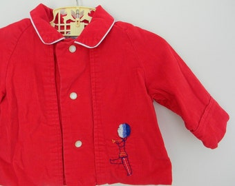 Vintage 1960s Red Corduroy Baby Coat with Embroidered Trumpet Player - Size 3-6 Months