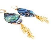 Abalone Dangle Earrings, Drop Earrings, Chandelier Earrings, Gold Filled Earrings, Handmade Earrings, Shell Earrings, Stone Earrings