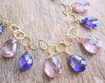 Zircon Necklace, Natural Zircon, Pink Zircon Necklace, Purple Zircon Necklace, Multi Color Statement Necklace, 14KT Goldfilled