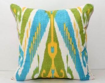 Ikat pillow cover cushion case, blue green pillow cushion