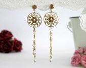 Long Gold Filigree Floral Earrings With Pearls - Pearl Bridal Earrings - Rhinestone Wedding Earrings - Bridal Crystal Earrings - Josephine