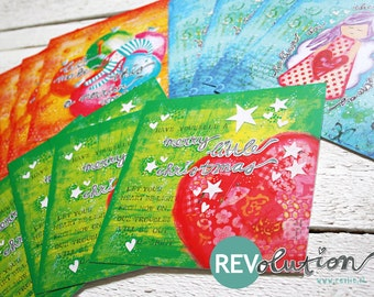 1 sets (12) of whymsical christmas cards, mixed media style SALE