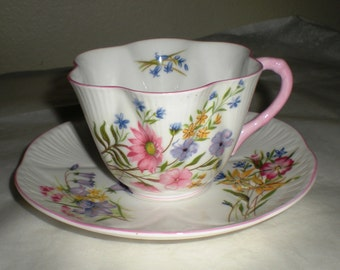 Shelley Fine Bone China Cup and Saucer - Wild Flowers