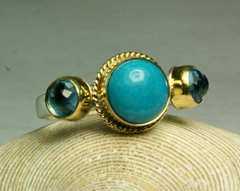 Geniune Sleeping Beauty Turquoise Ring, Gold Turquoise Jewelry, Three Stone Ring, Sterling Silver Ring