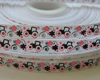 3/8 Tractor Ribbon Black Pink Flowers white Grosgrain Ribbon Making Hair Bow Supplies Printed Ribbon by the yard
