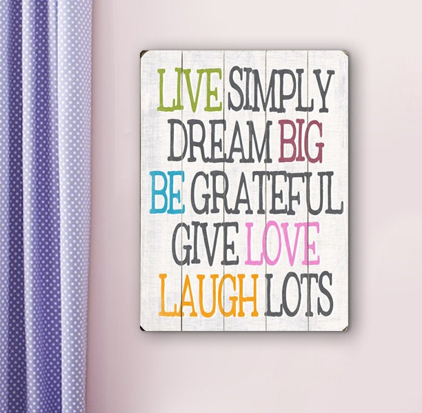 Live simply planked wood sign inspirational colorful wall for Live simply wall art