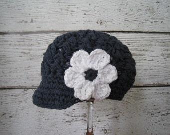 Newsboy Hat in Indigo, Childs Hat,Baby Girl Hat,Visor Hat with Flower