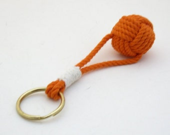 Orange Monkey Fist Key Chain with Split Ring whipped traditionally