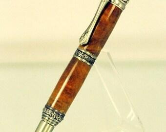 Steampunk Baroque Victoriana Handmade Custom Twist Ballpoint Pen, Roble Burl Wood with Antique Pewter trim, ASH Woodshops Valentine Gift