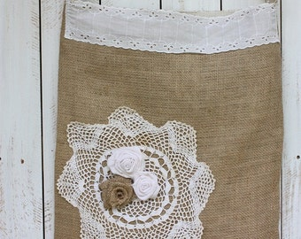 Handmade Burlap tote embellished with lace,doilie and roses