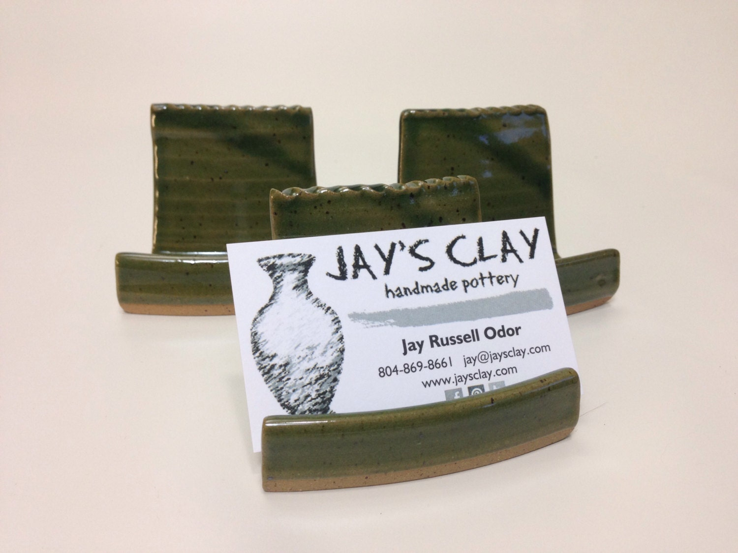 Pottery business card holder for odd shaped cards for Odd shaped business cards