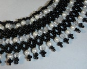 Black and White Hand Beaded Collar Necklace With Crystals and Glass Pearls