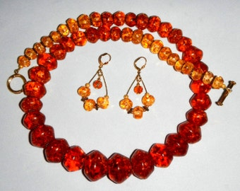 Chunky Necklace and Earrings Made With Resin Beads Encasing Authentic Amber Chips